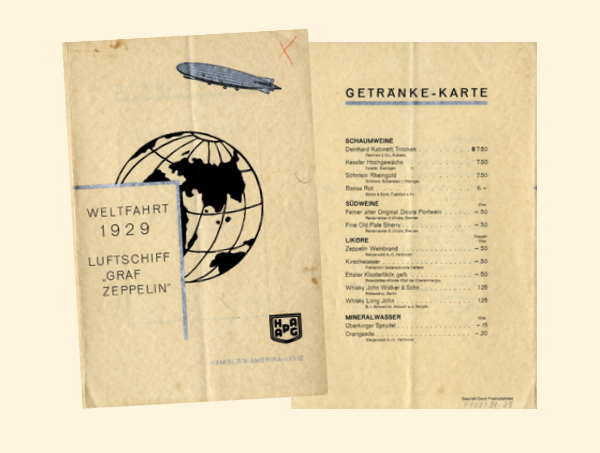 Graf Zeppelin Getränke-Karte